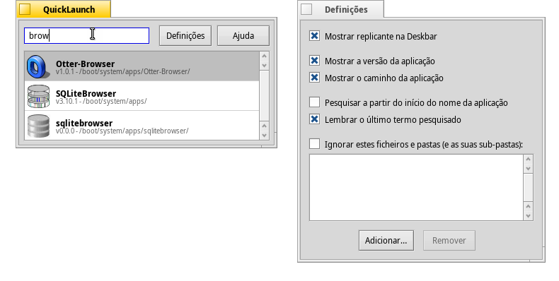 Quicklaunch - main window and settings window translated to Portuguese